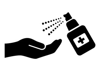 Hands disinfection vector icon