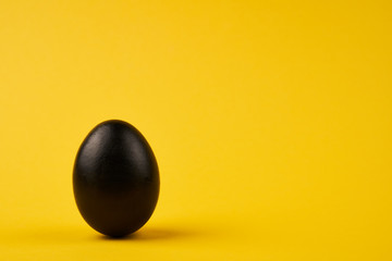 Colored black easter egg on bright yellow background