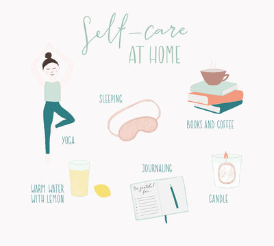 self care, stay at home, journaling, yoga, coffee, girl, candle, books, journal, water with lemon, sleep, gratitude, subtle, draw, icon, set, design, illustration