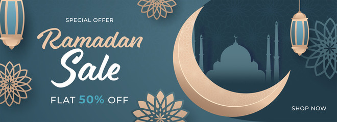 Islamic Holy Month of Ramadan Sale Banner with Crescent Moon, Hanging Lantern, and Floral on Teal Green Background.
