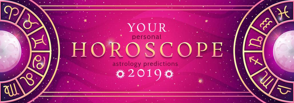 Zodiac symbols wheel banner. Astrological vector background
