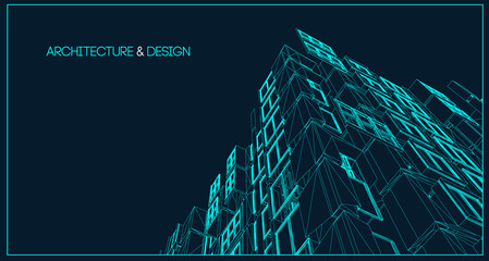 Architecture line background. Building construction sketch vector abstract. Modern city 3d project. Technology geometric grid. Wire blueprint house. Digital architect innovation wireframe.