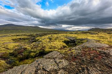Hallmundarhraun lava field with lava caves, Borgarnes, Vesturland, Iceland
