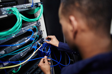 IT engineer working on a computer server