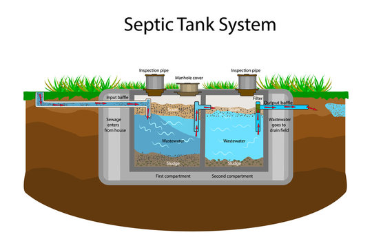 Septic Tank diagram. Septic system and drain field scheme. An underground septic tank illustration. Infographic with text descriptions of a Septic Tank. Domestic wastewater. Flat stock vector EPS 10