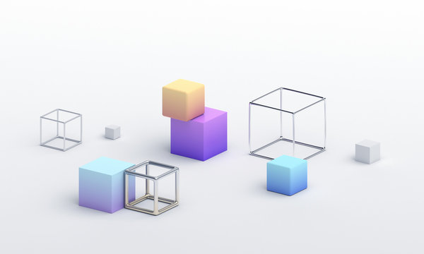 Abstract 3d render, modern geometric background design with cubes