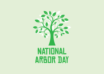 National Arbor Day vector. Green Tree silhouette vector. Simple Tree icon vector. Arbor Day Poster, last Friday in April. Important day