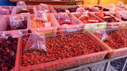 Dried fruits and vegetables at the market