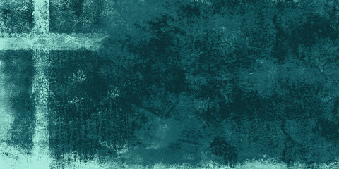 cross in tones of teal digital art with roughly painted effect, background with copy space