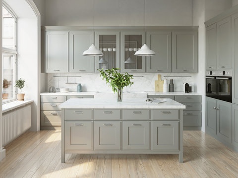 3d rendering of a light grey scandinavian kitchen with island