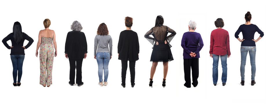 group of woman from behind on white background