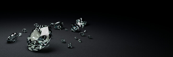 3D Rendering many size diamonds on dark gray surface