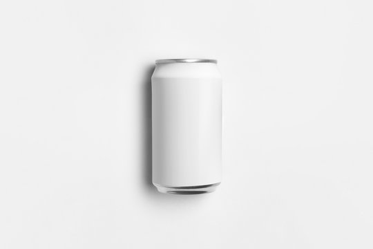 White blank Soda Can Mock-up isolated on light gray background.High-resolution photo.Top view.