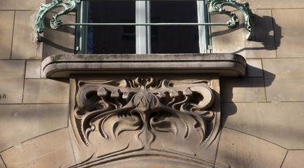 Detail of the facade of an art nouveau window