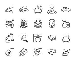 set of car wash icons, washing, wax, car care