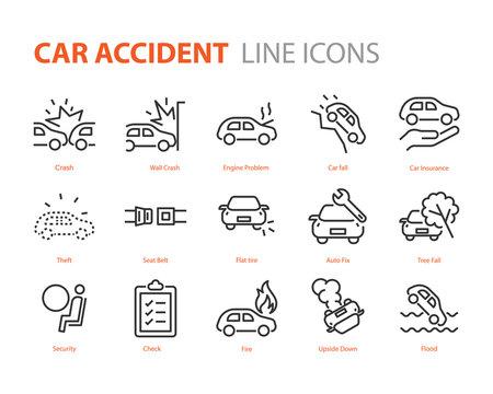 set of car accident icons, cash, insurance, danger