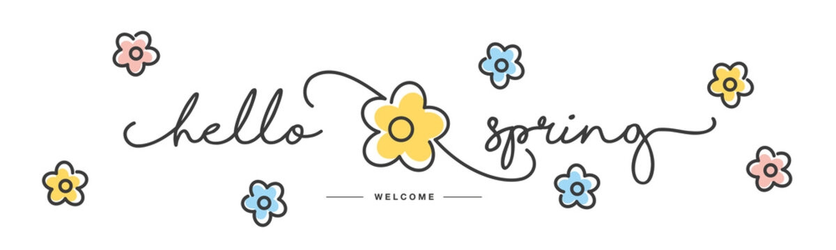 Hello Spring handwritten typography lettering text line design colorful flowers draw white isolated background banner