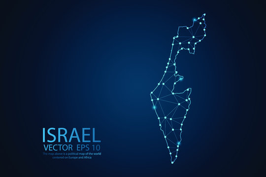 Abstract mash line and point scales on Dark background with map of Israel. Wire frame 3D mesh polygonal network line, design polygon sphere, dot and structure. Vector illustration eps 10.