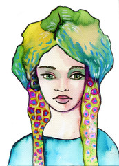 Fotobehang Schilderkunstige Inspiratie Illustration of women in colorful colors.