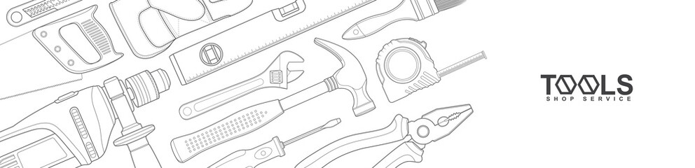 Construction concept tools shop service banner set all of tools supplies for house repair builder on white background vector illustration