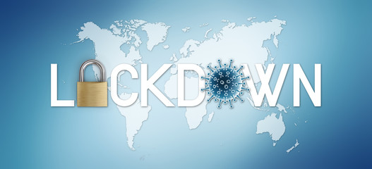lockdown text written with padlock and corona virus symbol icon on world map in blue background with copy space