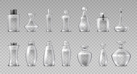 Perfume bottles. Realistic 3D glass containers for fragrance water, aroma cosmetic spray flask. Vector container makeup glossy cristales vial set on transparent background Wall mural
