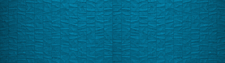 Rectangle geometric blue stone concrete cement tiles texture background panorama banner long