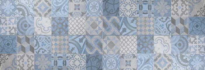 Blue gray white bright vintage retro geometric square mosaic motif cement tiles texture background...