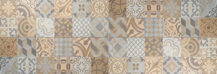 Brown beige gray bright vintage retro geometric square mosaic motif cement tiles texture background banner panorama