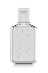 Blank promotional pocket hand sanitizer plastic bottle for branding, 3d render illustration.