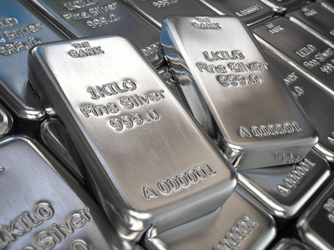 Silver bars or ingots background. Precious metal.