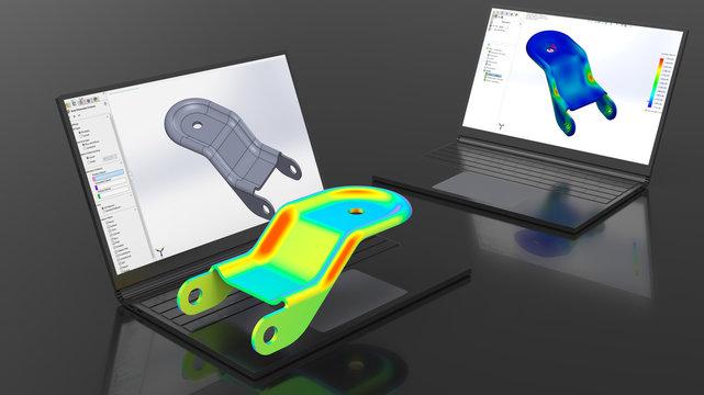 3D rendering - finite element analysis of a metallic part