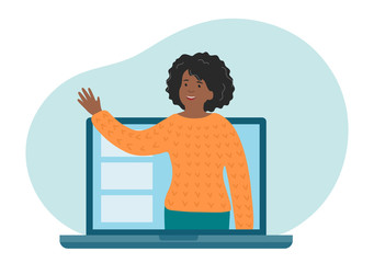 Online distance education. Teacher explain the topic of the lesson. African-american woman talking on laptop screen. Educational webinar vector illustration.