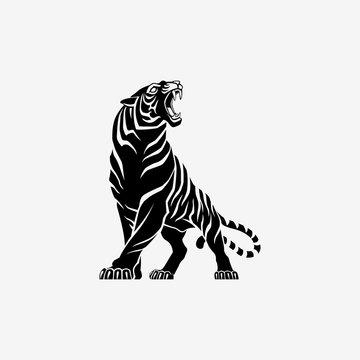 Tiger roaring logo sign emblem vector illustration
