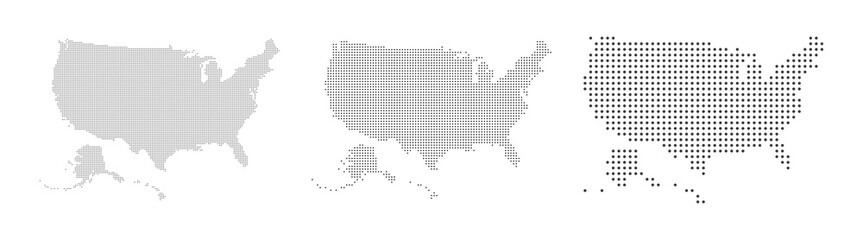 Abstract USA or United States of America Map with dot Pixel Spot Modern Concept Design Isolated on White background Vector illustration.