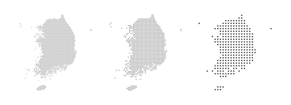Abstract South Korea Map with dot Pixel Spot Modern Concept Design Isolated on White background Vector illustration.