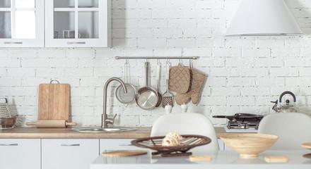 Modern stylish Scandinavian kitchen interior with kitchen accessories. Papier Peint
