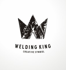 Unique logo design concept for welding business with crown made from pieces of melting metal, steel or iron. Industrial vector symbol or icon design.