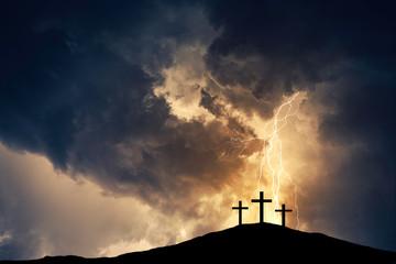 Three cross on the hill