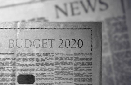 budget 2020 newspaper slogan title single word  in coronavirus