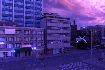 Fotomurales - Urban future cityscape against dramatic pink cloudscape. Cyberpunk city. Empty street with neon lights. 3D illustration.
