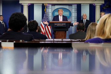 U.S. President Trump leads the daily coronavirus response briefing at the White House in Washington