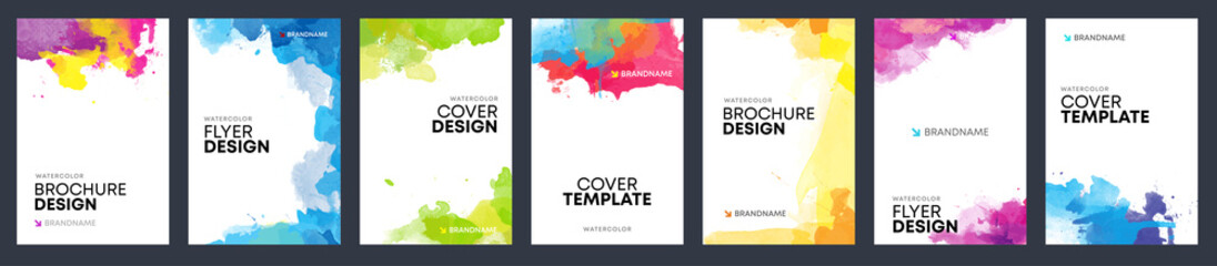 Fotobehang - Vector templates for booklet, brochure or flyer watercolor background