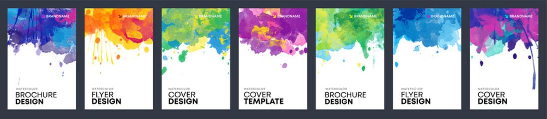 Fotobehang - Bundle of bright watercolor background templates for booklet, brochure or flier