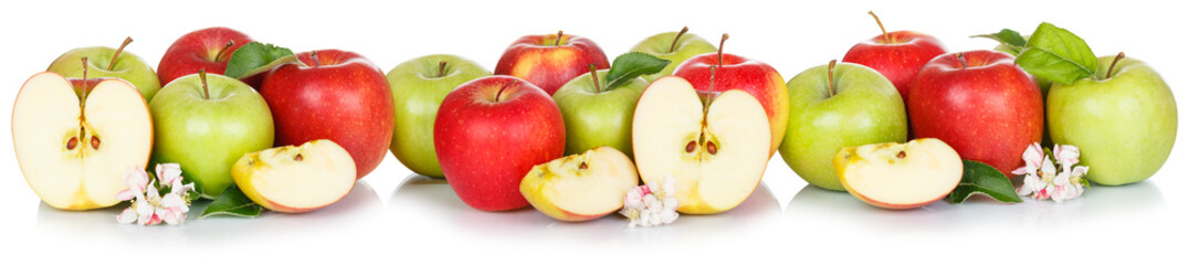 Wall Mural - Apple fruits collection red and green apples fruit isolated on white in a row