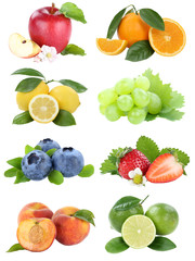 Wall Mural - Food collection fruits apple orange berries blueberries apples oranges fresh fruit isolated on white