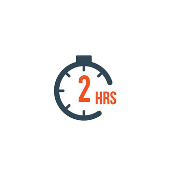 2 hours round timer or Countdown Timer icon. deadline concept. Delivery timer. Stock Vector illustration isolated on white background.