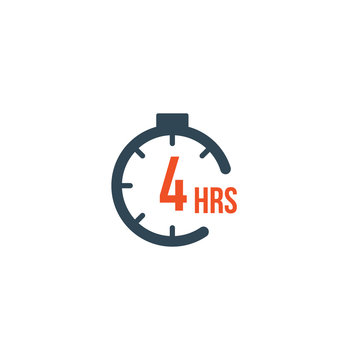 4 hours round timer or Countdown Timer icon. deadline concept. Delivery timer. Stock Vector illustration isolated on white background.