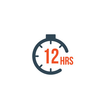 12 hours round timer or Countdown Timer icon. deadline concept. Delivery timer. Stock Vector illustration isolated on white background.