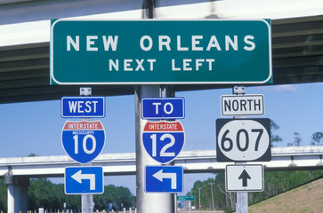 Wall Mural - Miscellaneous freeway signs in New Orleans
